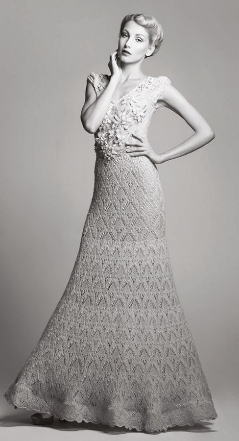 Knitting Pattern Wedding Dress : 96 best images about Knitted Wedding Dresses on Pinterest Lace, Diana and H...