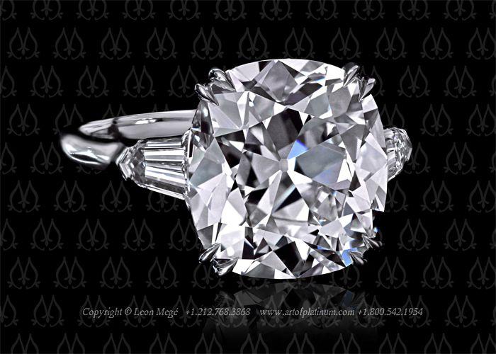 Three stone cushion cut diamond ring by Leon Mege. Love this one too!
