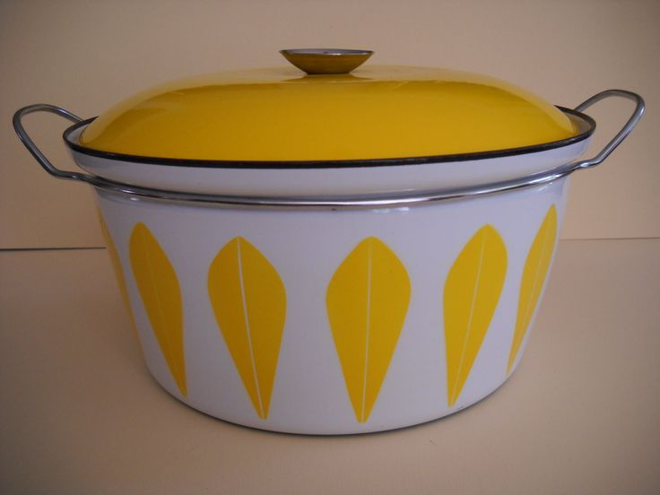 Cathrineholm Cathrine Holm Yellow and White Lotus Enamel XL Stockpot Dutch Oven by Modernaire on Etsy
