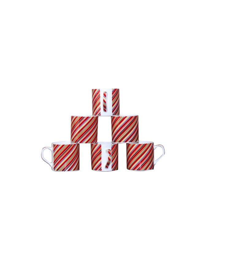 Pearl Matte Finish Colorful Stripes Design Tea