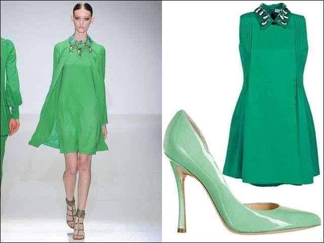 Vestito nero scarpe verdi 32