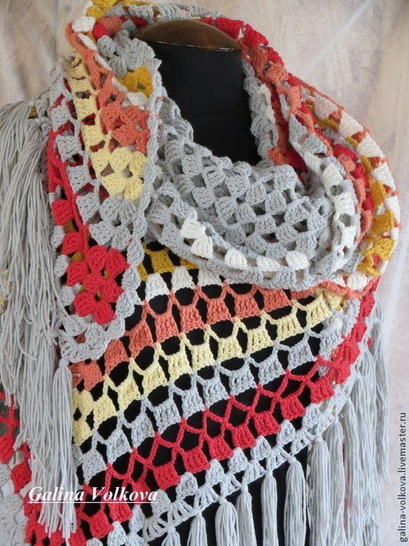 Купить Шаль ажурная вязаная Солнечный день - в полоску, стильная шаль, ажурная шаль