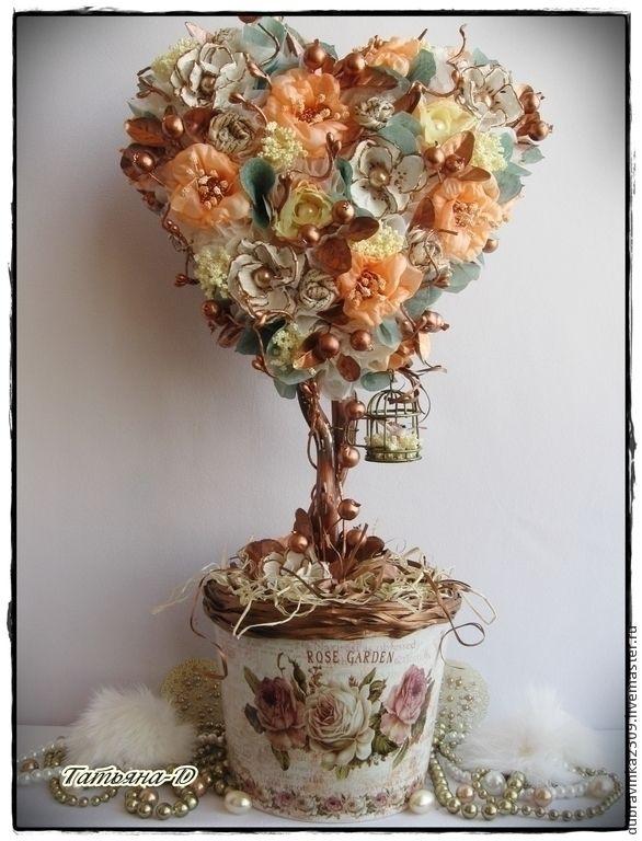 """Топиарий """"Золотые кружева"""" - золотой,оригинальный подарок,топиарий дерево счастья"""