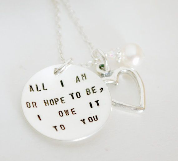 Bridal Jewelry - Mother of the Bride Necklace - From Daughter to Mother - Hand Stamped Sterling Silver Gift from Bride