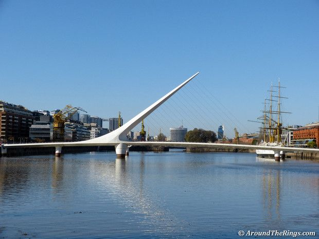 Puente de la Mujer, or Women's Bridge, in the Madero commercial district evokes a man and a woman performing the tango. (ATR)