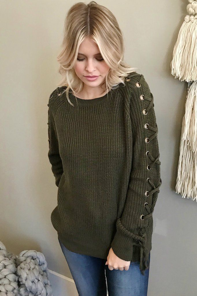 1542e5d948e Wild Winds Lace Up Sleeve Sweater in Olive