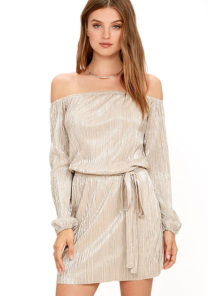 off Shoulder Long Sleeve Club Dress with Belt | victoriaswing
