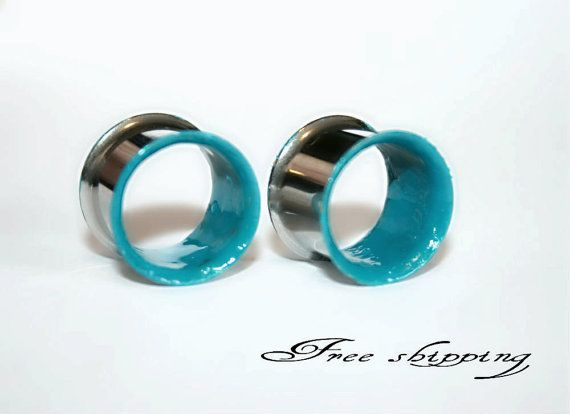 Turquoise-Stainless steel gauges- Ears plugs-Double flare-Free shipping for US and Canada