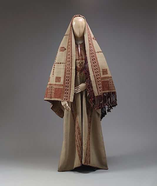 Ensemble, 19th c., Middle Eastern (Palestinian peoples), linen, cotton, metal