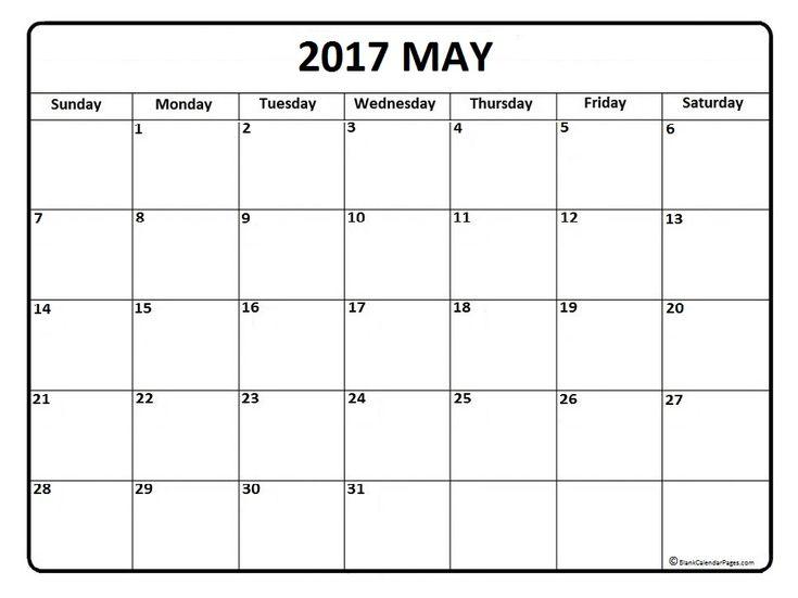 May Calendar 2017 Printable And Free Blank Calendar