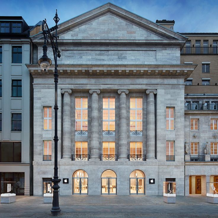 In Berlin, Apple installed a store in an opera house that dates back to 1913. The walls are made of limestone from a local quarry, and thick German oak tables display the latest products.