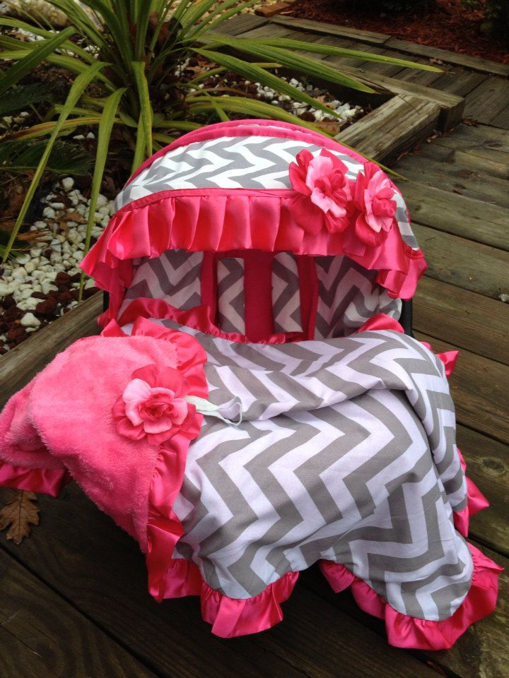 Baby Car Seat Cover Canopy Blanket Infant Chevron Chevy Pink For Girl Fit Most