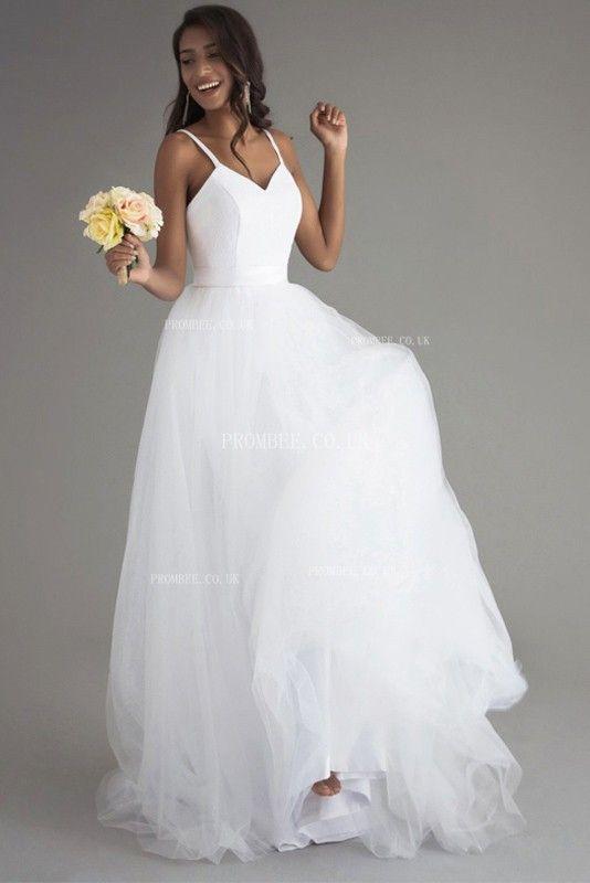 Einfarbiger Spaghettibügel A-Linie Tüll Brautkleid mit Schleppe #Brautjungfer #Hochzeit #Brautjungfernkleid #Homedekor #Zitat