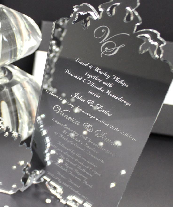Silver Mirror Acrylic Wedding Invitation Perspex
