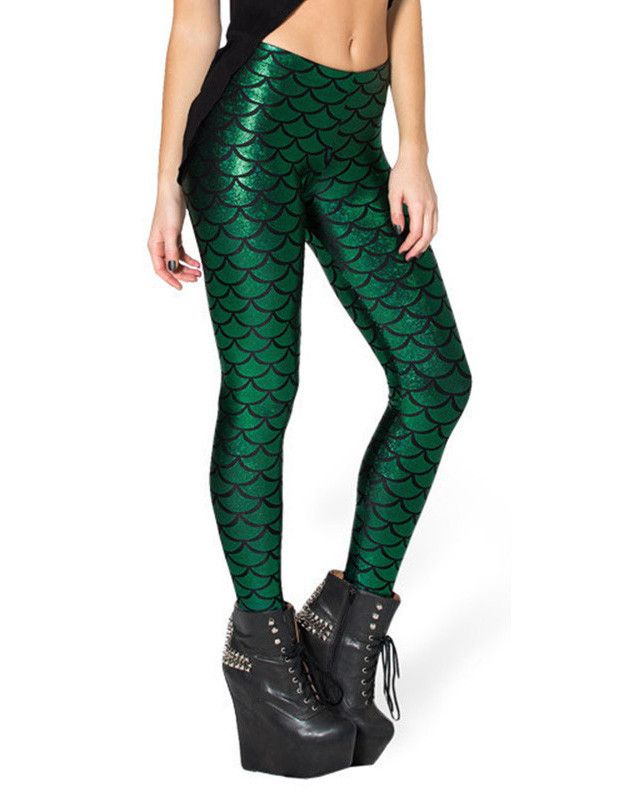Green Mermaid Scale Print Sequin Tights Leggings for Women