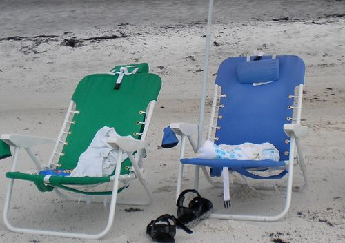 We love our Rio Beach Chairs with headrest, cooler, backpack straps, and cell phone pocket.