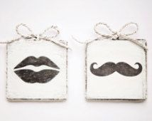A pair of handmade wooden bathroom door signs -  Women / Men / Unisex / Lips / Moustache / Home Decor / Door Decor