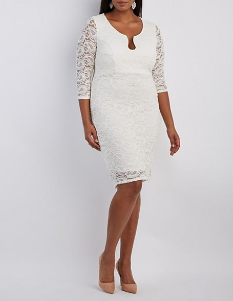 Plus Size Notched Lace Bodycon Dress... can you believe this is just $37 at Charlotte Russe?!