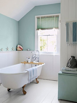 Trying to save on flooring? Try painting floors with floor paint like this white floor in the bathroom. (Photo: Brent Darby/Narratives) #DIY #home