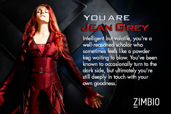 Jean Grey. What's most interesting about this is when I took a different quiz from a different site, I got Dark Phoenix.