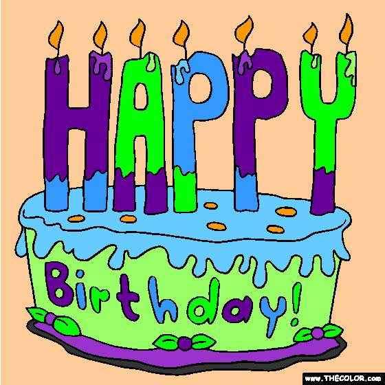 Happy Birthday Cake 2 Online Coloring Page