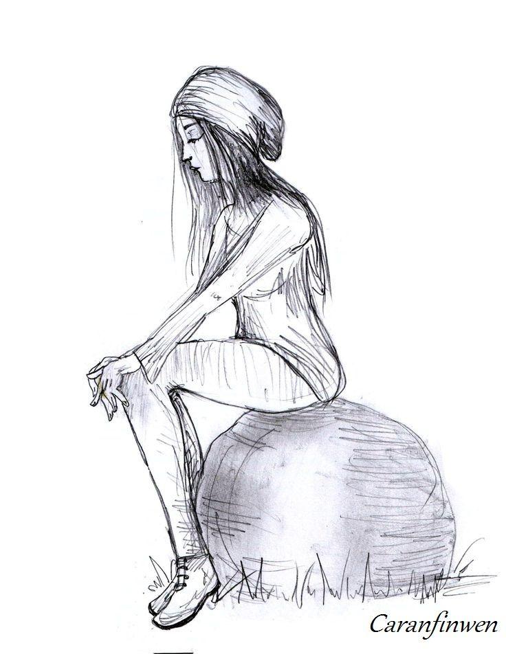 Just Sitting There - by Caranfinwen #hat #girl #woman #stone #sitting #sadness