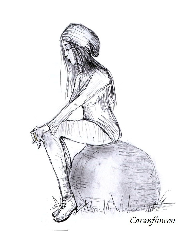Just Sitting There - by Caranfinwen #hat #girl #woman #stone #sitting #sadness