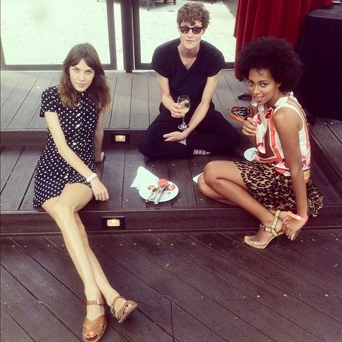 alexachung:    Alexa with Matt Hitt and Solange Knowles at The DL in NYC.