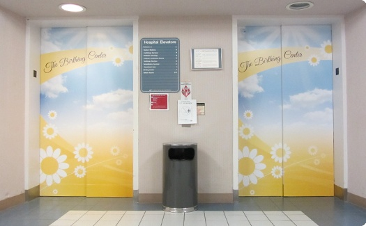 Elevator wraps at The Birthing Center in OSF St Joesph Hospital