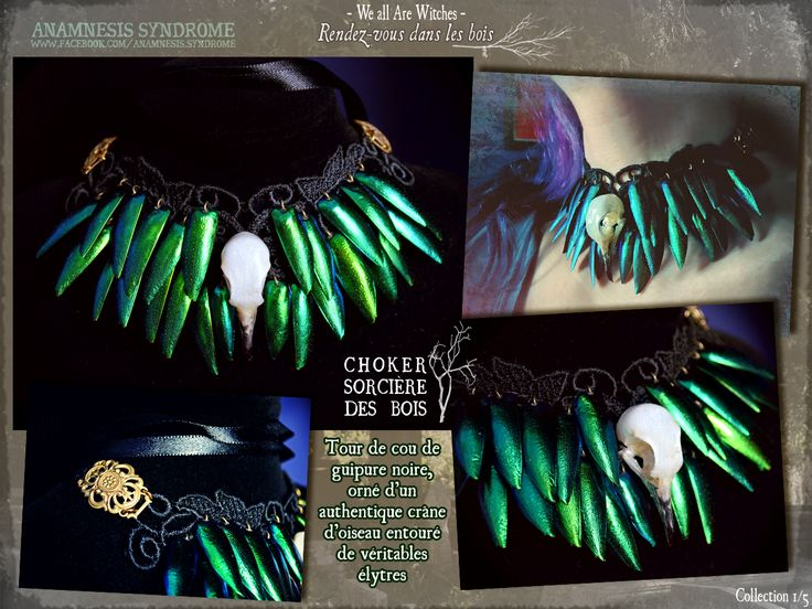 Gothic-witchy choker with black guipure, emerald elytras and genuine bird skull