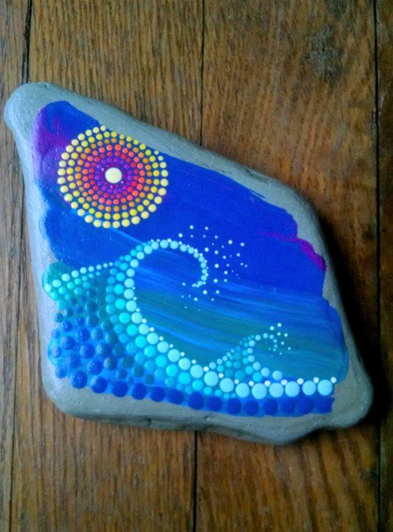 Large Beach Stone Hand Painted Dot Art Ocean by P4MirandaPitrone