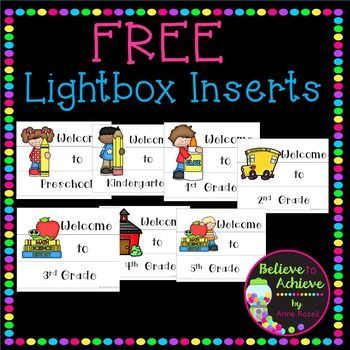 "Are you loving the lightbox craze? Well,here are some Welcome signs for grades Preschool to 5th grade to use with the lightbox! And they are FREE! You will need a lightbox and some transparencies to use this resource! This is such a fun way and easy way to add a little ""pop"" of color to your classroom!Please feel free to leave feedback and be sure to follow my store to be the first to know when new lightbox inserts are available!"