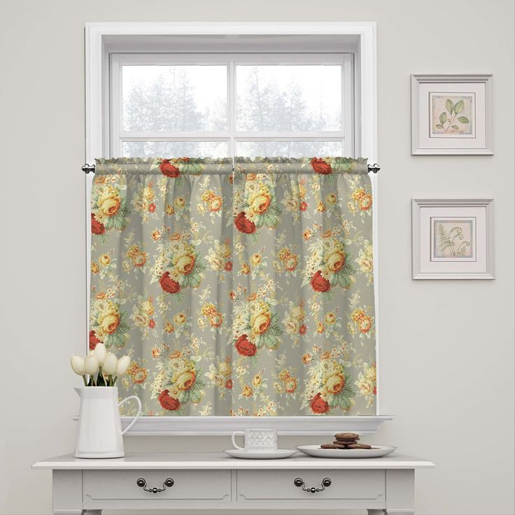 Waverly Sanctuary Rose 36-in Clay Cotton Rod Pocket Single Curtain Panel