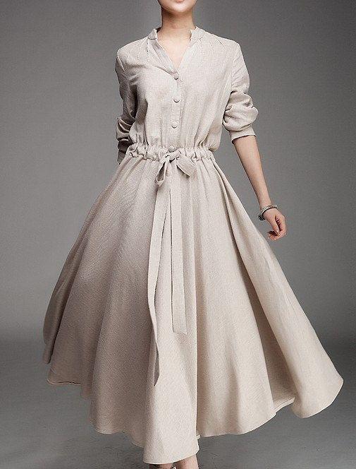 Beige/ Red Linen dress women dress fashion by happyfamilyjudy, $96.99