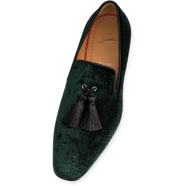 Officialito Flat  Verde Velvet - Men Shoes - Christian Louboutin ❤ liked on Polyvore featuring men's fashion, men's shoes, mens tassle loafers, mens crocs loafers, mens tassel shoes, mens tassel loafer shoes and mens velvet loafers