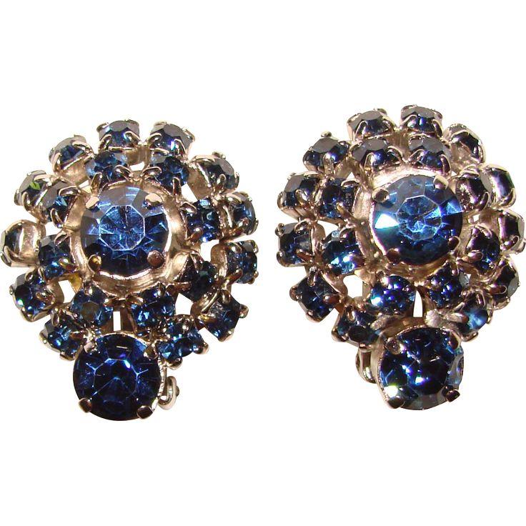 Gorgeous DARK BLUE Vintage Rhinestone Clip Earrings. Vintage Jewelry under $25 at Ruby Lane @Ruby Lane
