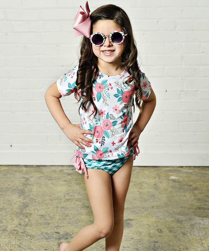 3b75e6a1c30ca Coral & Teal Floral Rashguard Set - Toddler & Girls Adorable and appropriately  modest girl's swimsuit! #ad