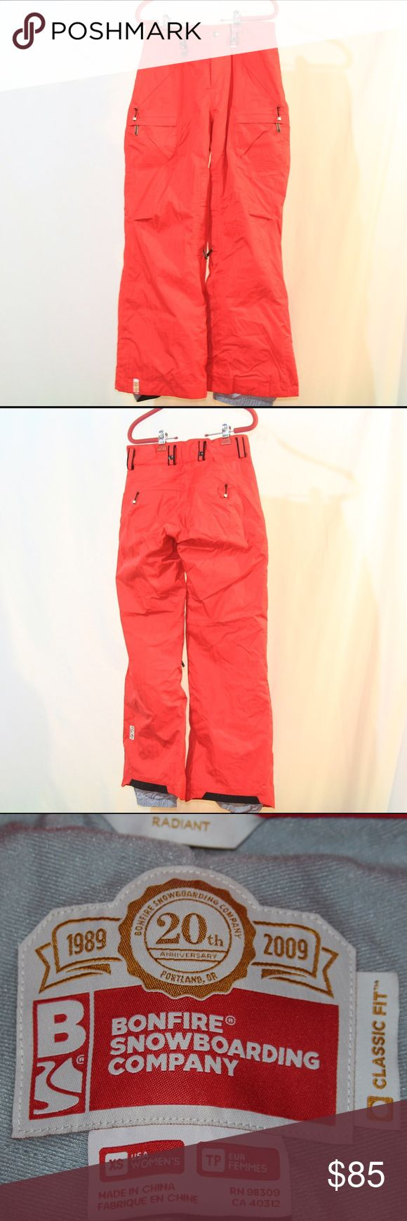Bonfire Radiant Women's Snowboarding Pants Bright red super stylish 20th Anniversary Bonfire snowboarding pants! Size XS, used for one season-- in great condition. No rips or tears in the material. Bonfire Snowboarding Company Pants Track Pants & Joggers