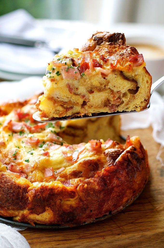 Cheese Bacon Strata Cake (Savoury Bread Pudding / Bread Bake) - made with just bread, eggs, milk, cheese and bacon. Great make ahead for feeding a crowd!