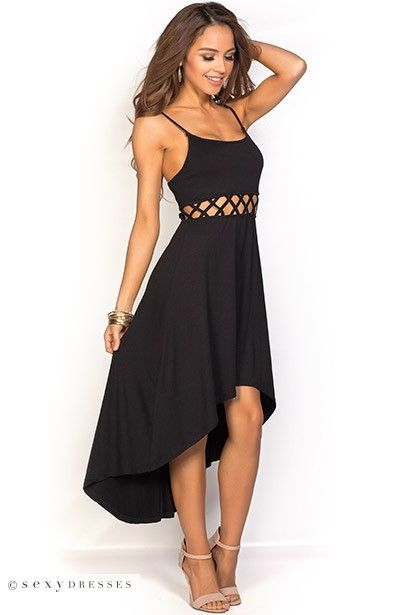 Spaghetti Strap Casual Black High Low Dress with Strappy Cage Cut Out