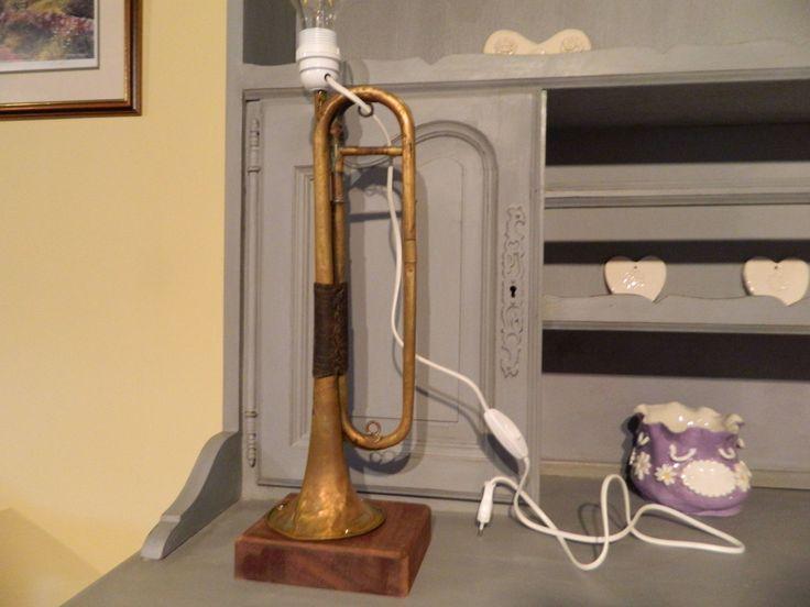 French trombone style desk lamp, bespoke lamp, office decor, Vintage French table lamp, man cave lighting, home decoration, musical lighting by Blackboardsandbits on Etsy