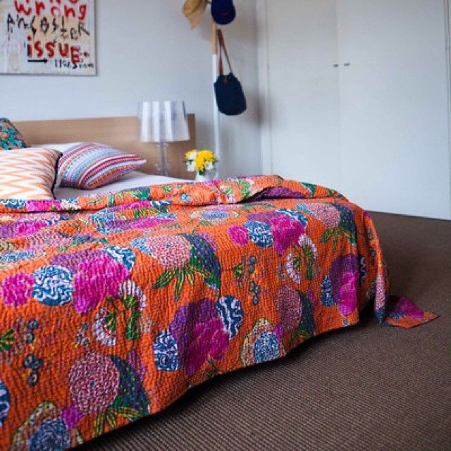 Our beautiful kantha quilts bring a pop of colour to any bedroom.