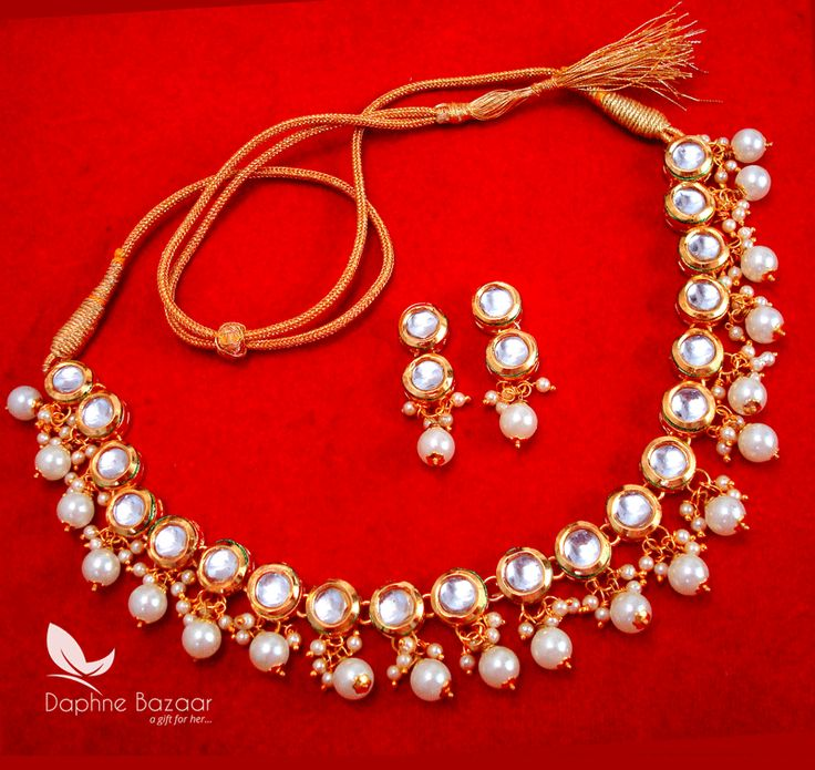 NC55, Traditional Pearl Kundan Necklace Set with Earrings, for Women - full view