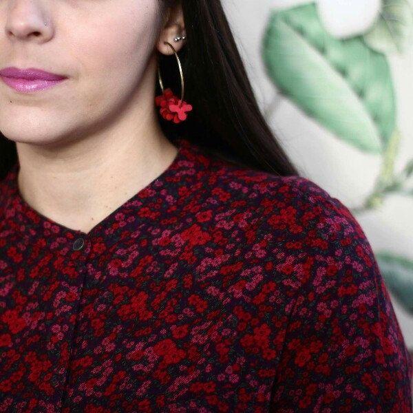 Wooden hoop flower earrings