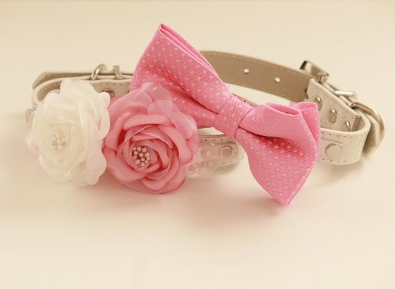 Pink wedding Dog Collars, Two dog collars, Floral collar and pink bow tie, wedding accessory, High Quality