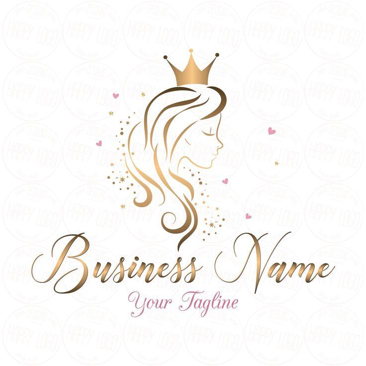 DIGITAL Custom logo design, Hair Crown Beauty logo, gold Girl long hair, Crown Lady beauty logo gold, hair queen logo gold, logo hair saloon