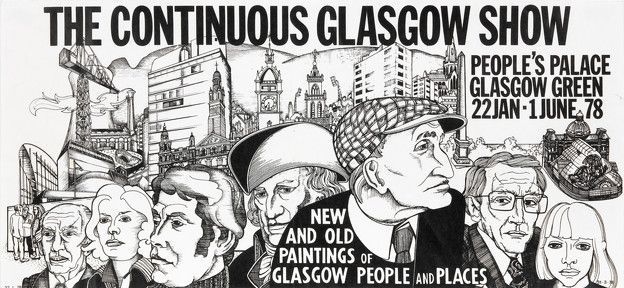 Alasdair Gray: The Continuous Glasgow Show. New and old paintings of Glasgow people and place 1978 poster 19 x 41 cm
