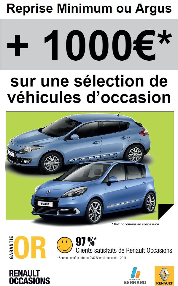offre de reprise exceptionnelle pour l 39 achat de renault occasion automotive car promo nos. Black Bedroom Furniture Sets. Home Design Ideas