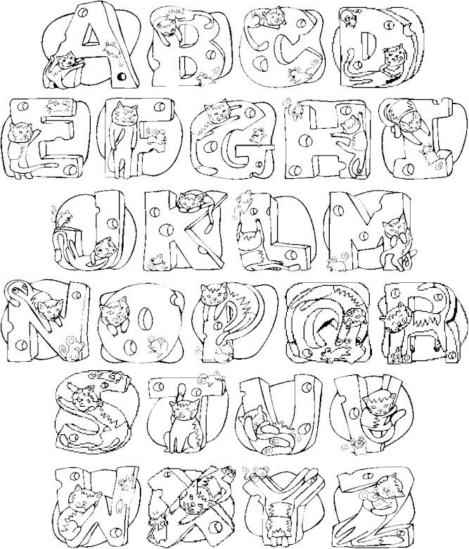 Color The Alphabet Cats Full