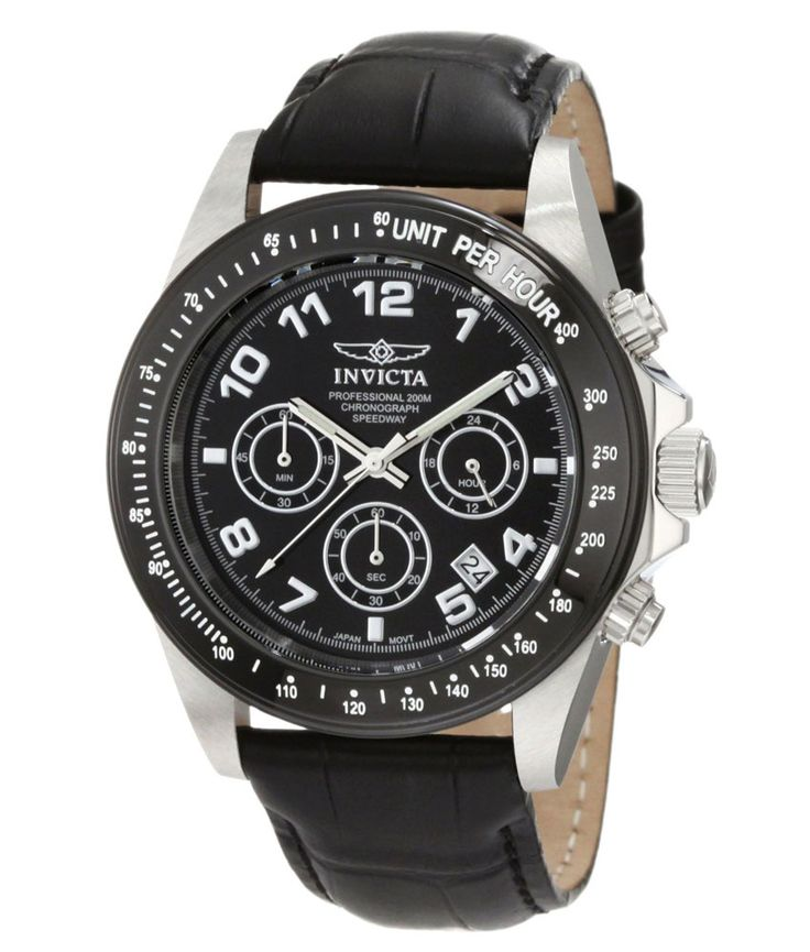 Invicta 10707 Men's Speedway Black Dial Leather Strap Chronograph Dive Watch,